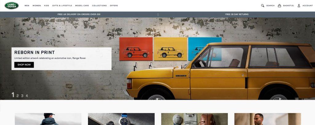 Land Rover tienda hecha en Magento