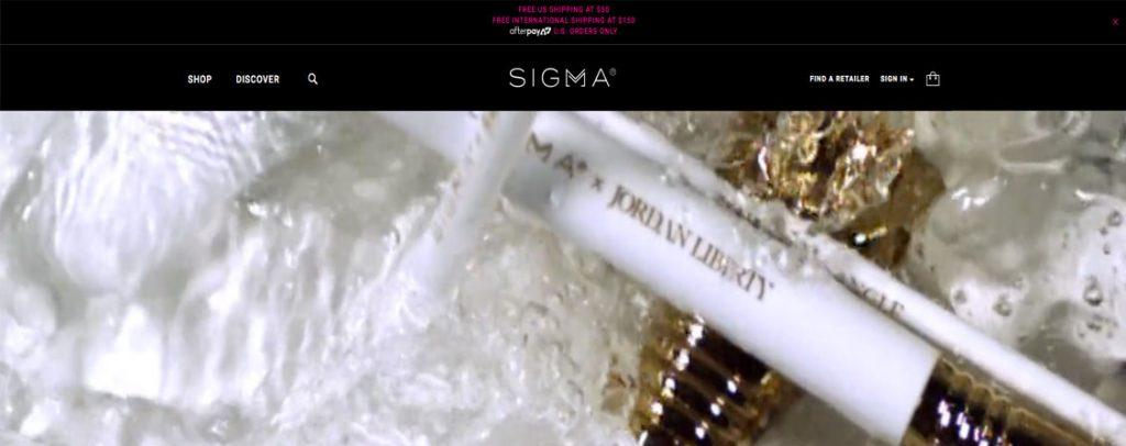 Sigma beauty tienda hecha en Magento